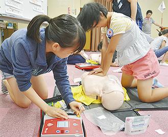 救急法を学ぶ訓練も