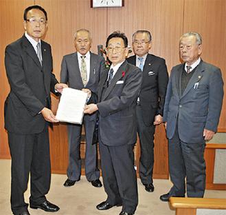 市自治会連合会から要望書を受け取る加山市長(左)