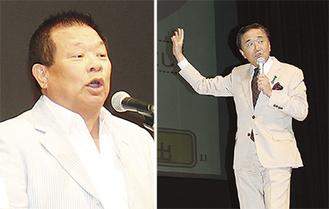 講演する島田氏(左)と黒岩知事=15日、相模大野で