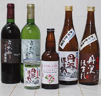 地酒「丹沢ほまれ」など、多数の商品を用意する