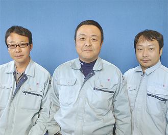 10代目社長の幸一氏(中央)、専務の滋樹氏(左)、営業分野で活躍する宏彰氏(右)が力を合わせ会社を盛り立てる。地元のJCや商工会、野球など幅広い分野で地域貢献にも従事。