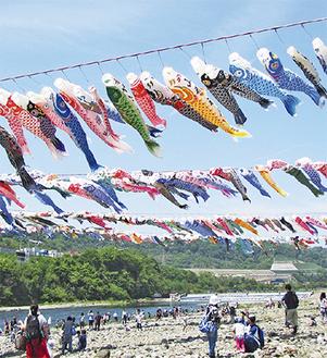 青空を泳ぐ鯉のぼり(写真は過去)=一般社団法人相模原市観光協会提供