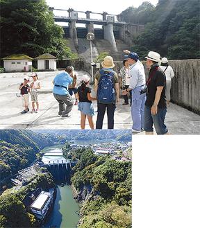 昨年も多くの家族連れが相模ダムの見学に参加した(上)、上空から撮影した相模ダムの写真(下)