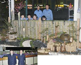 """相原高校にある材料を使い、生徒たちが制作した""""坪庭"""""""