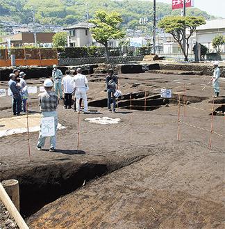 発見された平安時代の集落跡で説明を受ける参加者=4月21日、中野中里遺跡