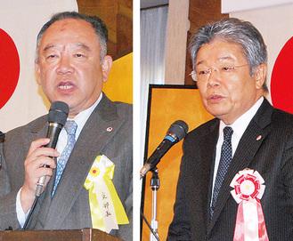 あいさつに立った山田支部長(左)と坂本会長=17日、けやき会館