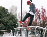ハンドレール(手すり)を滑走する藤澤さん=4月17日、小山公園ニュースポーツ広場で撮影
