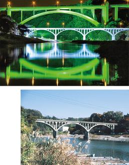 幻想的な小倉橋のライトアップ(上)、昭和63年頃の小倉橋(下)