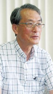 取材に応える市防災協会の大谷新一郎理事長