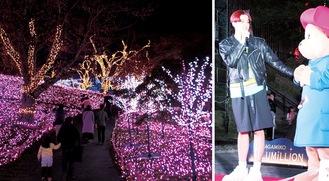 (右)点灯式で登壇するkemioさん(左)初日から大勢の見物客が訪れた=2日
