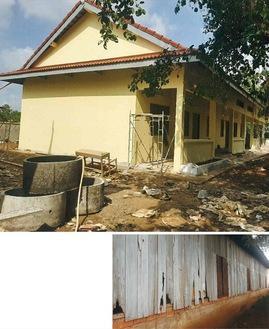 (上)今年8月に新築されたカンボジアのチュロイコール小学校(下)再建される以前の校舎の腐敗が進んだ壁面=写真はいずれも村山さん提供