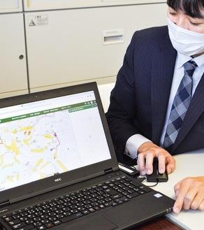 描画機能を使いあらかじめ避難経路を書き込むこともできるEsri Japan powered by esri