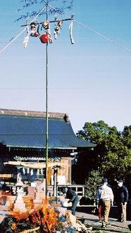 寒空の中、二本松八幡宮で行われただんご焼き