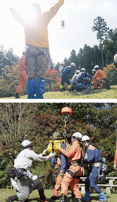 南山で山岳救助訓練