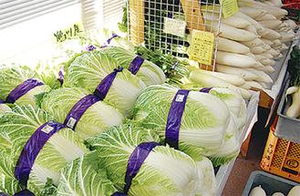 各店旬の地場野菜が並ぶ