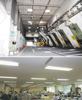 工場棟プラットフォームの水銀灯代替のLED(写真上)と事務所内の蛍光灯代替LED(写真=市役所提供)