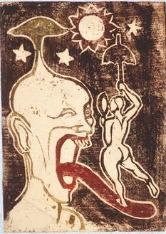 谷中安規《妄想F》1925年頃 木版飯田市美術博物館(日夏耿之介記念館)蔵