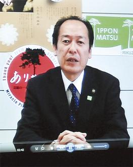 ビデオレターで感謝の言葉を述べる戸羽太市長