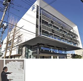 (上写真)竣工した新社屋の外観(左写真)建物の説明をする赤坂喜顕教授