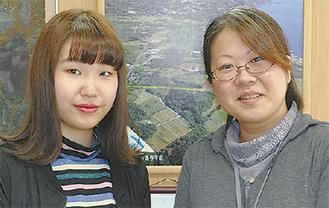 林さん(左)と担任の寺島先生