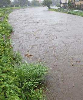 氾濫危険水位を超えた境川(2016年8月22日撮影)