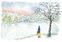 「雪の薬師池公園」沢野ひとし