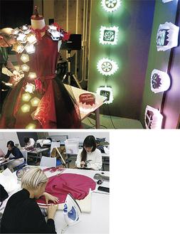 学生がデザインしたディスプレイ「光るショコラ」(上)、制作する学生(下)