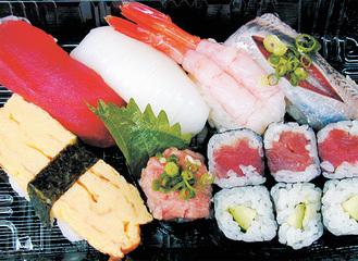 ▲日替わりのネタを心待ちにしているファンも多いランチ寿司。これで390円とはお値打ちもの※写真は一例