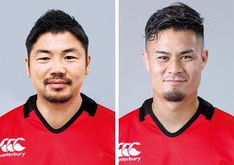 田中史朗選手(左)と田村優選手(キヤノンイーグルス提供)