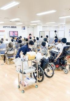 ワクチン接種の待合室