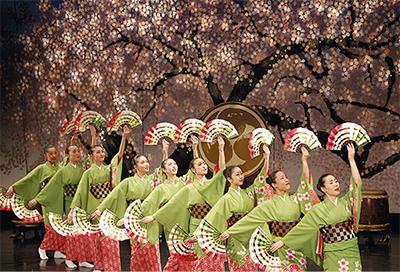和太鼓で舞う 桜の舞台