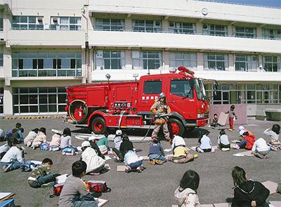 「うちの学校に消防車がやってきた」