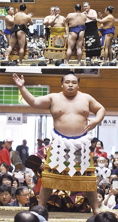 大相撲力士に4千人沸く
