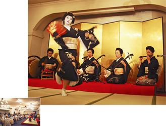 満席の会場(左)/「鶴亀」を舞う小太郎さん