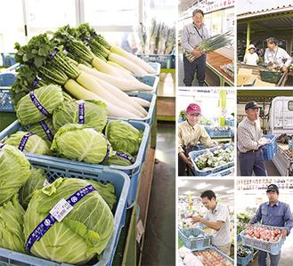 毎朝とれたての野菜が並ぶ。バーコードには生産者の名前も