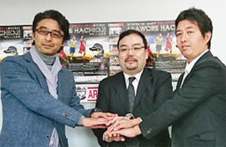 (左から)野口監督、立川社長、紙本代表