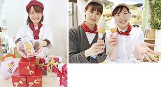 (右)磯沼牧場ソフトはチョコレートとミックスの2種類/(左)マンマ・マンマは直営店(中野上町1の35の5)でも販売中