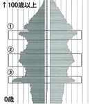 人口ピラミッドの表(市の資料より)。【1】は団塊の世代、【2】は団塊ジュニア世代。八王子は大学生・専門学校生の年齢にあたる18歳から23歳の層(【3】の部分)が突出している
