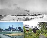 1957年の木崎紡織合名会社とその周辺の様子(上)/「お城」と呼ばれた頃の芳林閣。2階建てだった(左)/現在の芳林閣(右)