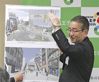 マルベリーブリッジの完成予想図を前に説明する石森市長