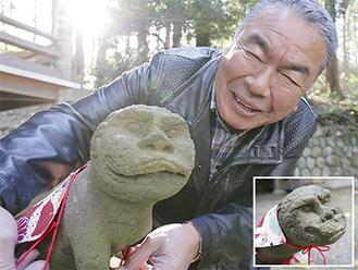熊野神社の狛犬(阿(あ))と糠信さん。右下は吽(うん)