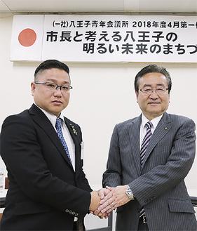 石森市長(右)と青田理事長