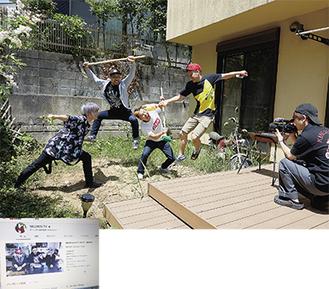 【上】市内で撮影されたメグウィンTVの様子。作品には主に(左から)メテオさん、バンディさん、メグウィンさん、ファルコンさんが出演している。【下】ユーチューブ内にあるメグウィンTVの画像
