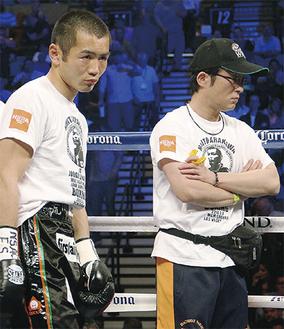 試合に挑む荒川さん(左)と、筒井さん【筒井さんより写真提供】