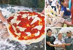 懇親会で振る舞われた「米粉」入りのピザと団子=左、右上写真/高月で作られた米による米粉を持つ(左から)西仲さん、スーパーアルプス最高顧問の内野紀宏さん、農家の石川研さん=右下写真