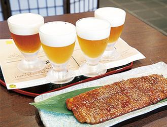 クラフトビール4種で1000円(税込)。手前は自然薯のかば焼き1300円(税込)