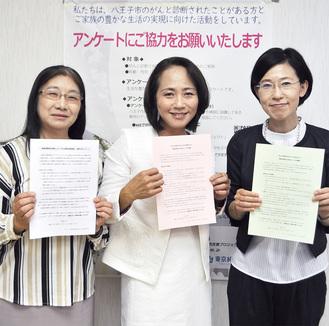 アンケートを持つ同大学の(左から)戸塚智美准教授、坊垣教授、塚本都子講師