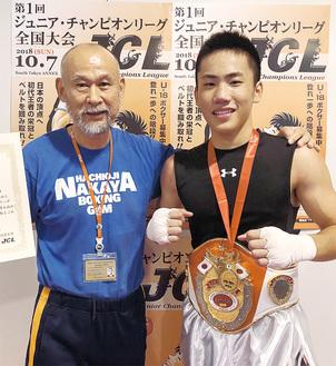 優勝した池上選手(右)とチーフトレーナーの中屋廣隆さん