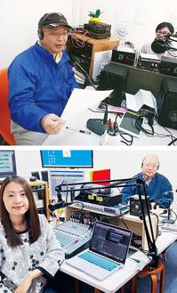 【上】生放送に出演したときの様子。左が西村住職/【下】イーリアさん=左=と住職