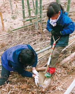 子どもに掘り方を教える学生